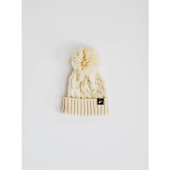 Orcas Lucille - Cable Knit Pom Beanie - Cream