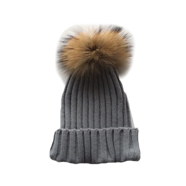 Tiny Trendsetter - Adult Grey Pom Pom Hat