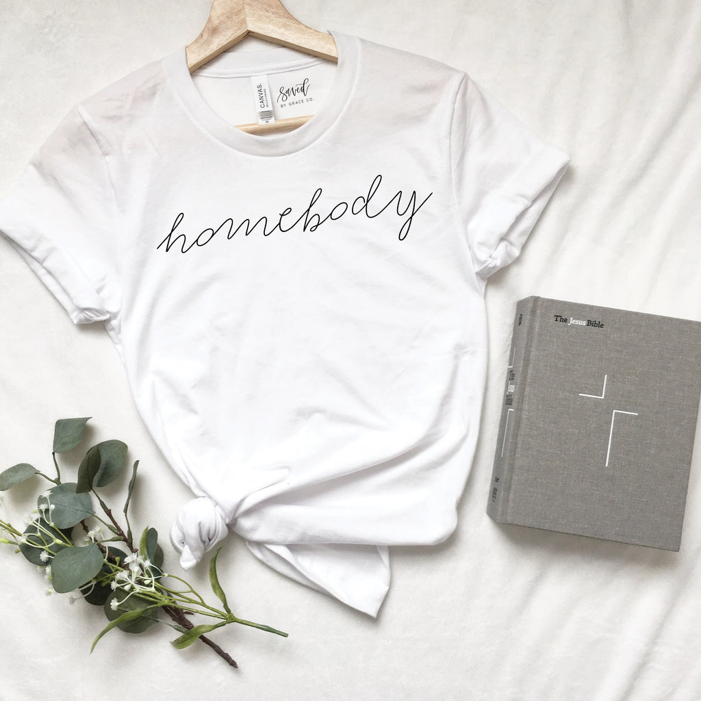 Saved by Grace Co. - Homebody Tee (Script Font)