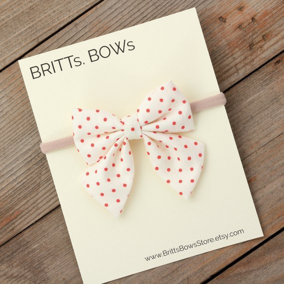 BRITTs. BOWs - White and Red Polka Dot Headband