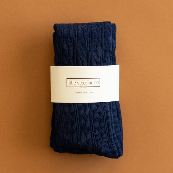 Little Stocking Co. -  Navy Blue Cable Knit Tights