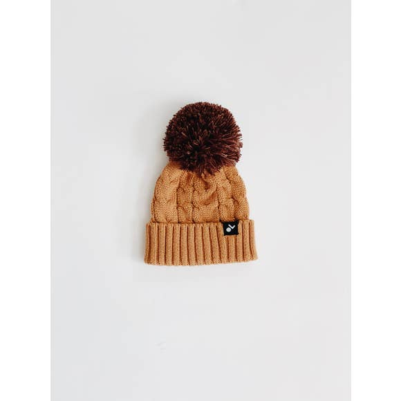 Orcas Lucille - Cable Knit Pom Beanie - Copper