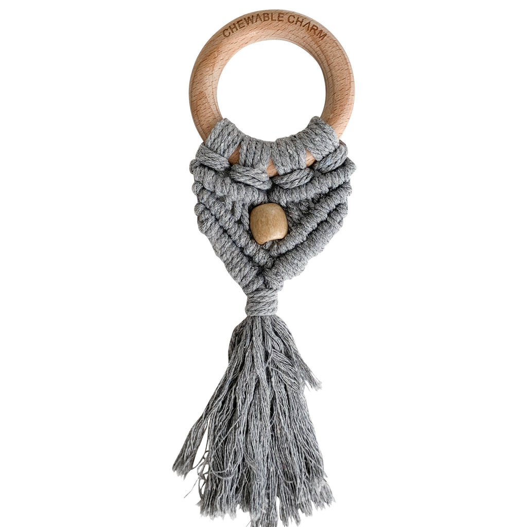 Chewable Charm - Celeste Macrame Teether + Bead -Grey