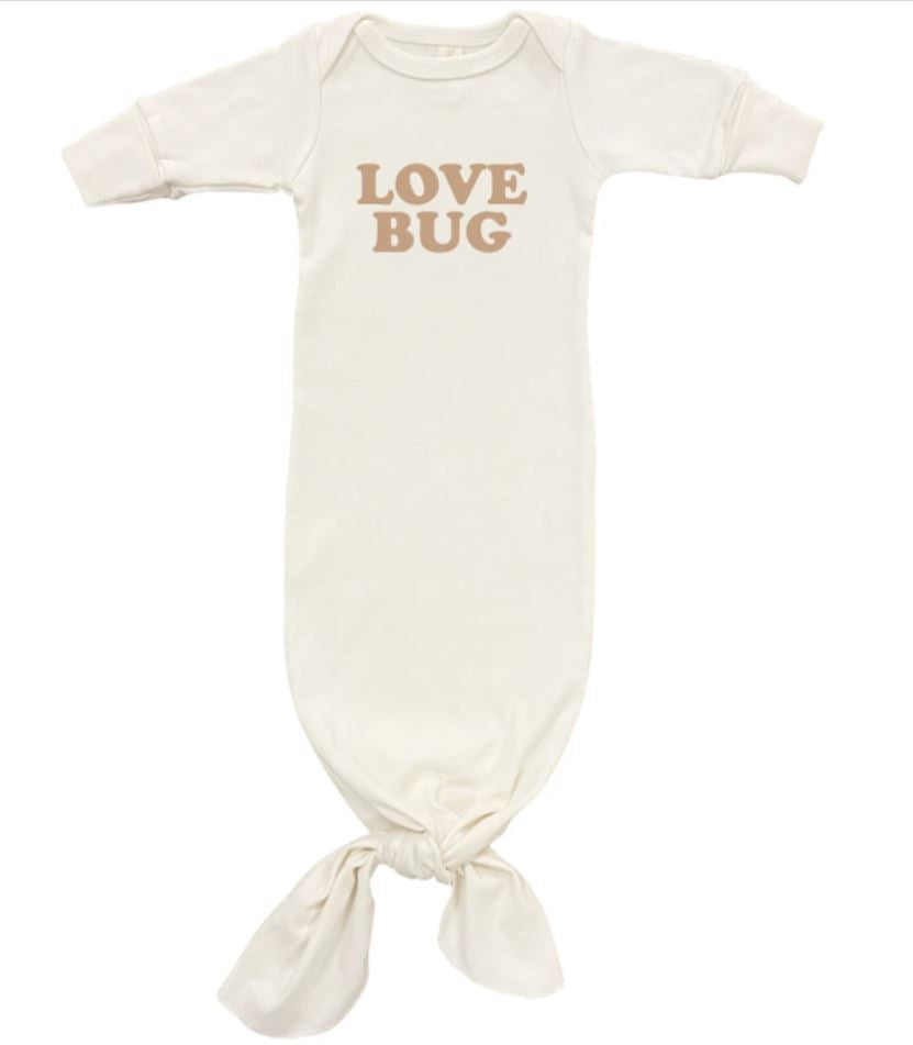 Tenth & Pine - Love Bug  - Long Sleeve Infant Tie Gown | Clay