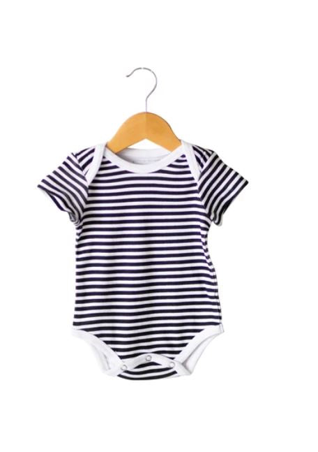 Modern Burlap - Organic Short Sleeve Bodysuit - Prints  | B+W STRIPES