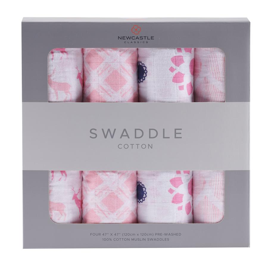 Newcastle Classics - Pop Of Pink Swaddle 4-Pack