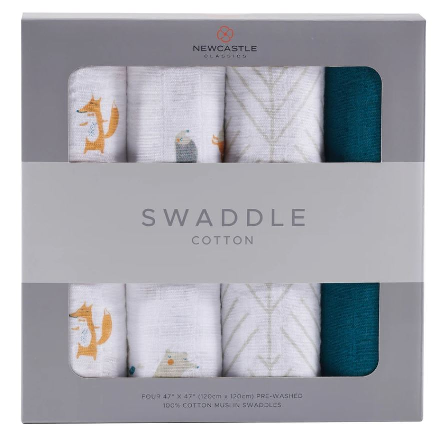 Newcastle Classics - Forest Friends Swaddle 4-Pack