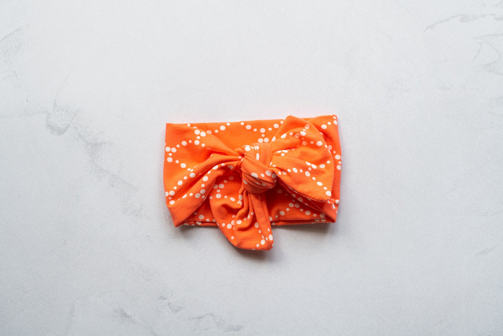 Emma Grace Shoppe- Handmade Bow knot - Dotted Orange