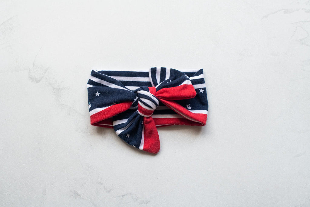 Emma Grace Shoppe- Handmade Bow knot - Red and Navy