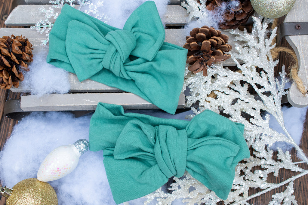 Emma Grace Shoppe- Handmade Head Wrap Bow or Bow Knot- Sage Green