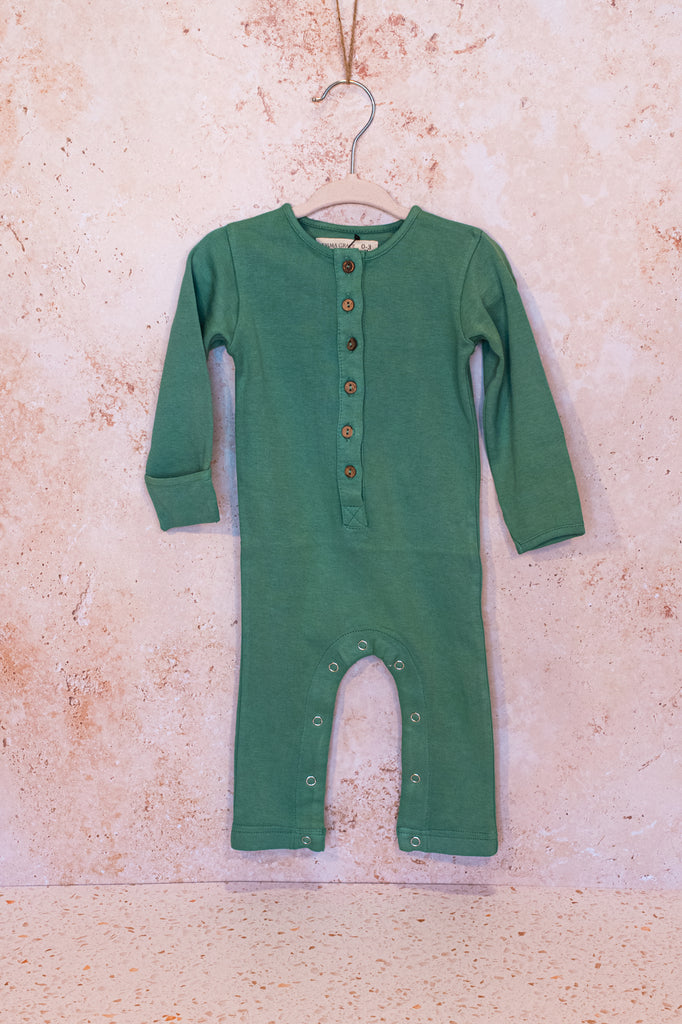 Emma Grace Shoppe- 100% Organic Long sleeve Coverall (Pine)