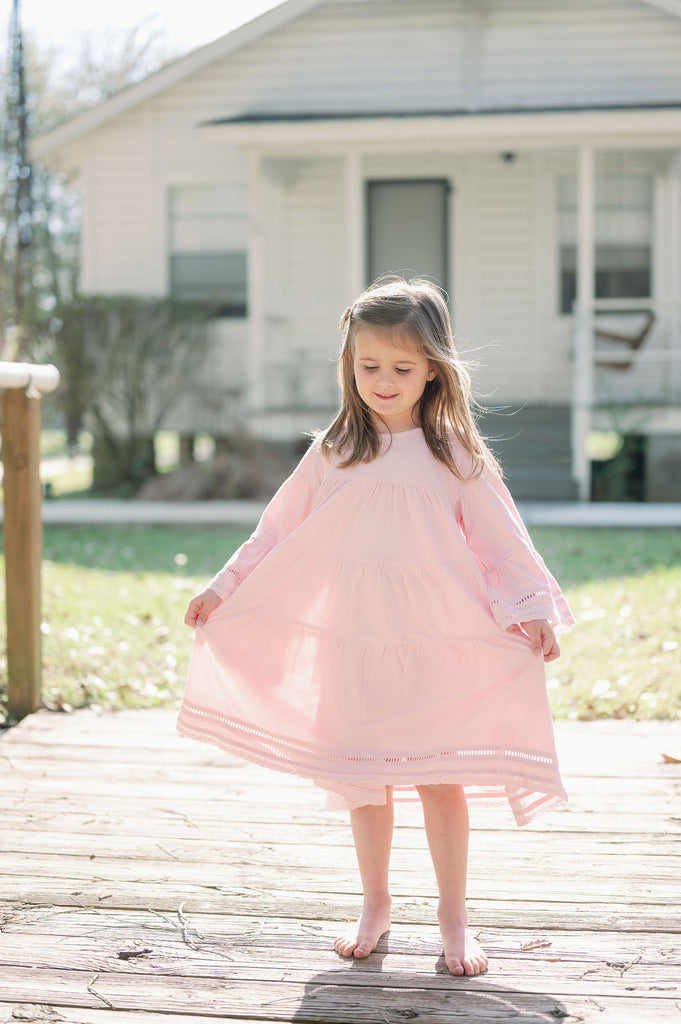 Emma Grace Shoppe: Organic Cotton Multi-Tiered Boho Dress-Ballet Pink