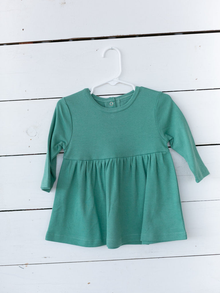 Modern Burlap—ORGANIC LONG SLEEVE DRESS - PINE GREEN