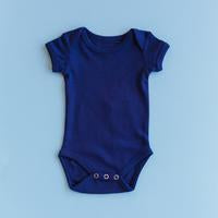Modern Burlap  - Organic Short Sleeve Bodysuit - Colors  | NAVY PEONY