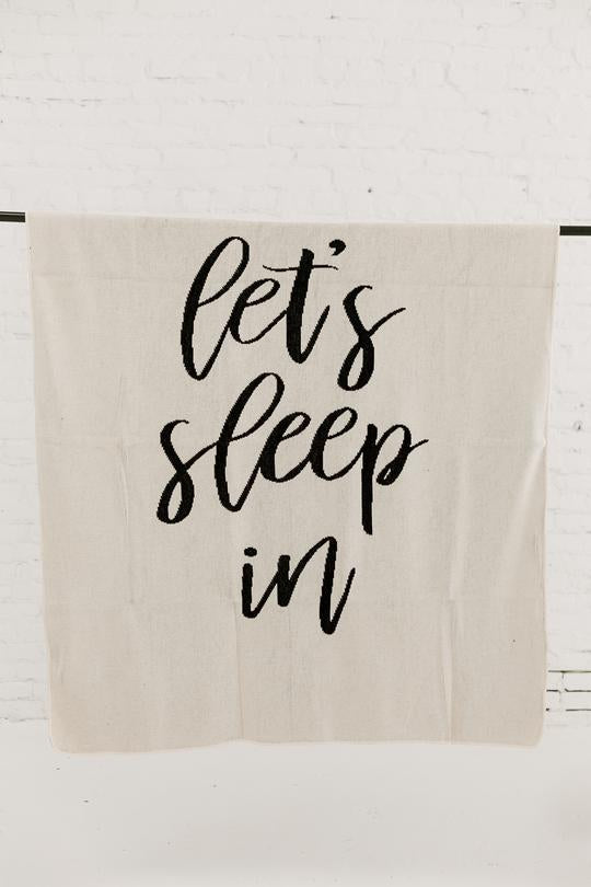 Modern Burlap- Made in the USA | Recycled Cotton Blend Let's Sleep In Throw Blanket