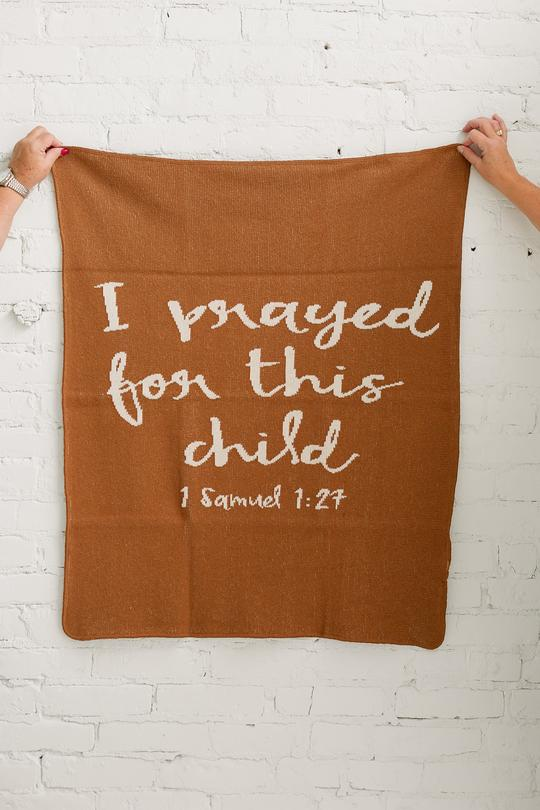 Modern Burlap- Made in the USA | Recycled Cotton Blend I prayed for this child Throw Blanket