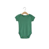 Modern Burlap  - Organic Short Sleeve Bodysuit - Colors  | PINE GREEN