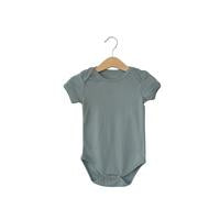 Modern Burlap  - Organic Short Sleeve Bodysuit - Colors  | NEUTRAL GRAY
