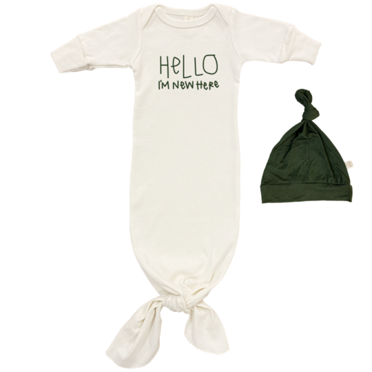 Tenth & Pine - HELLO IM NEW HERE GOWN + HAT SET | Olive
