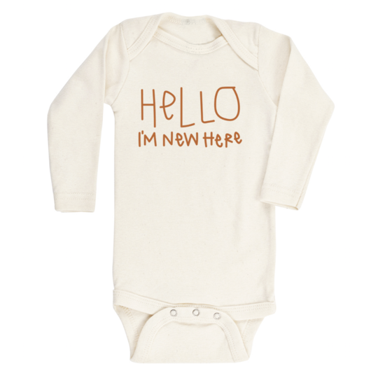 Tenth & Pine - HELLO IM NEW HERE - ORGANIC BODYSUIT - LONG SLEEVE | Rust