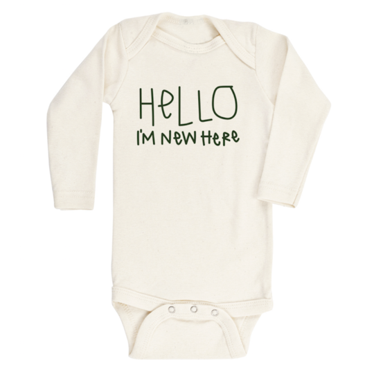 Tenth & Pine - HELLO IM NEW HERE - ORGANIC BODYSUIT - LONG SLEEVE | Olive