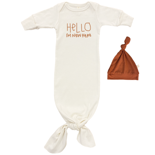 Tenth & Pine - HELLO IM NEW HERE GOWN + HAT SET | Rust