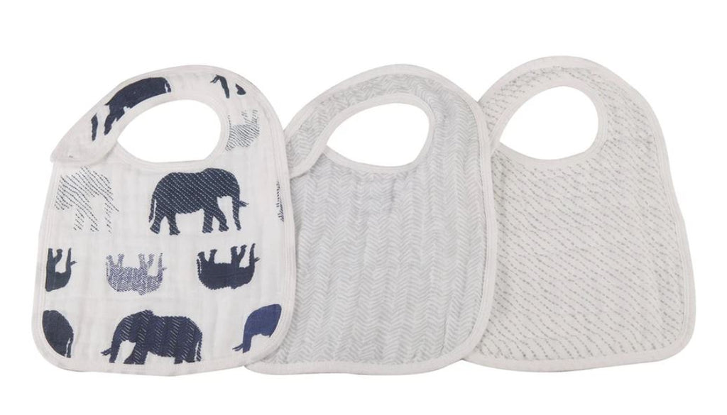 New Castle Classics - In The Wild Elephant Snap Bibs Set of 3