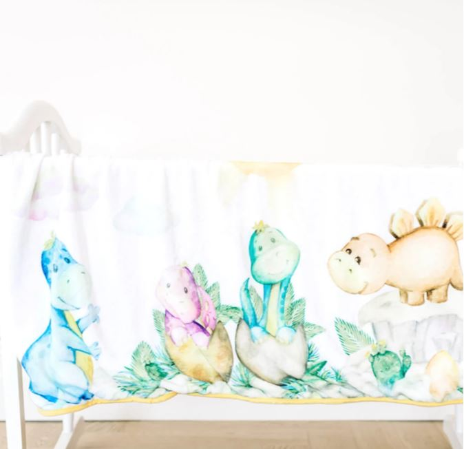 Bambi Bamboo - Bamboo Minky Baby Blanket - Double Layers - Dinosaurs - You Are My Sunshine