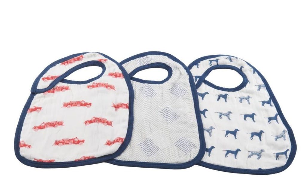 New Castle Classics - Fire Truck and Dalmatian Snap Bibs - Set of 3