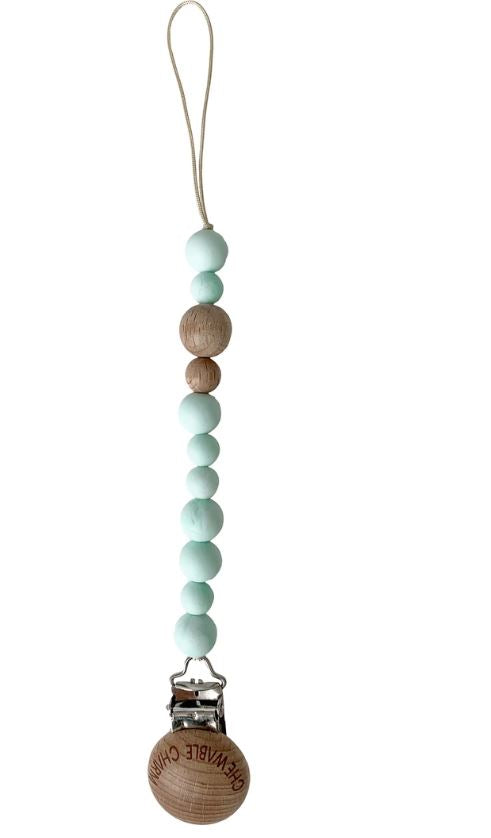 Chewable Charm - Petite Pacifier Clip - Wood + Mint