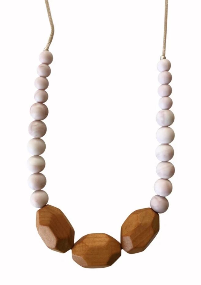 Chewable Charm - The Austin- Rose Quartz Teething Necklace