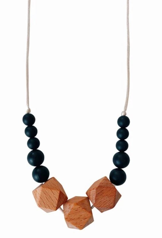 Chewable Charm - The Easton- Black Teething Necklace