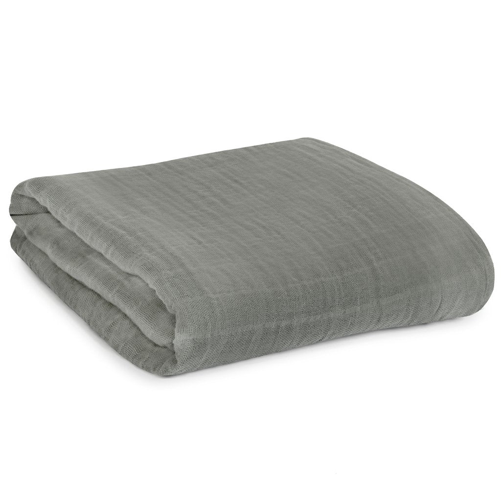 Modern Burlap - Organic Cotton Muslin Swaddle - Neutral Gray