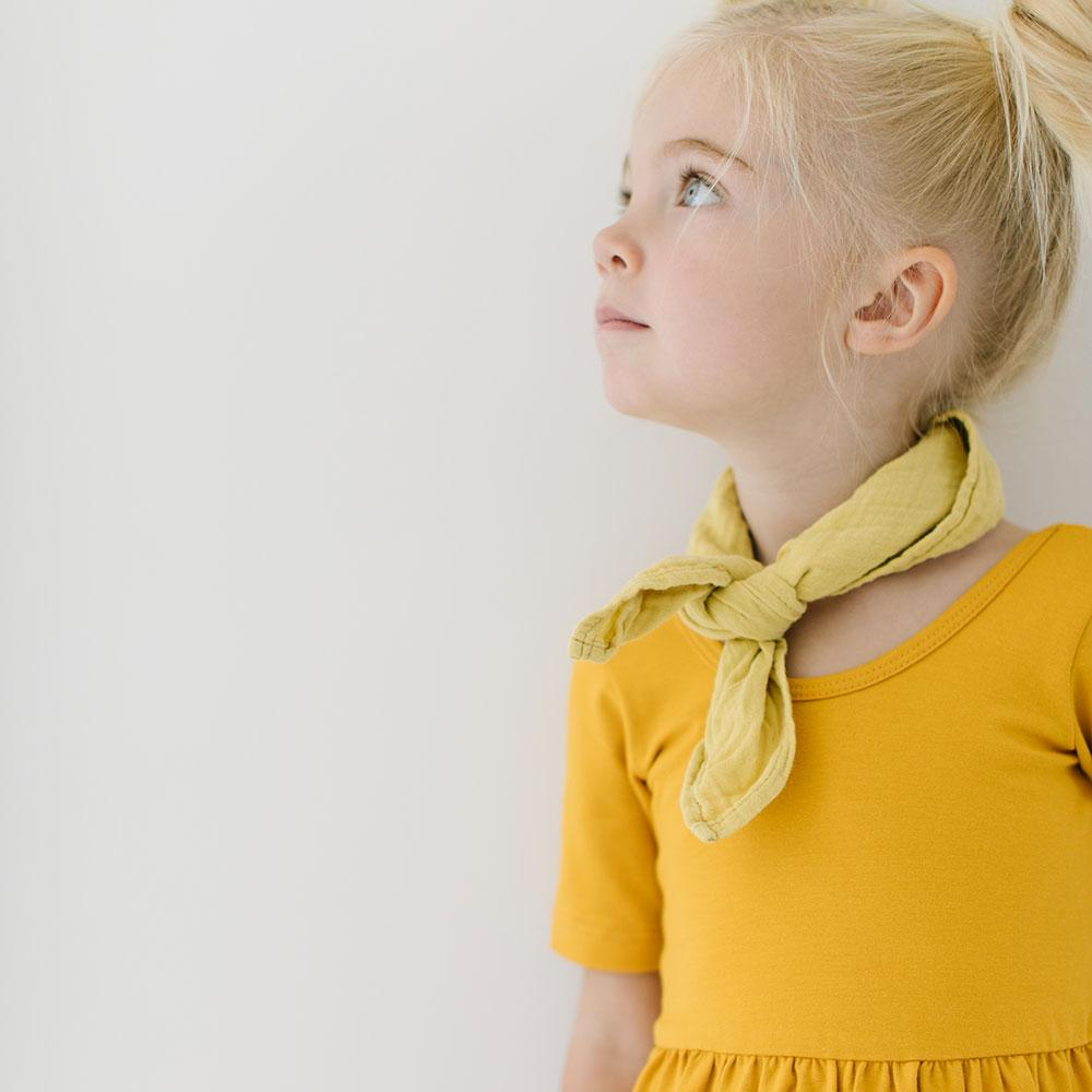Alice + Ames- THE SHORT SLEEVE BALLET DRESS IN MUSTARD