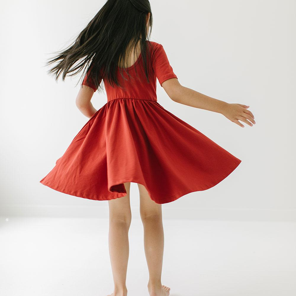 Alice + Ames- THE SHORT SLEEVE BALLET DRESS IN SPICE