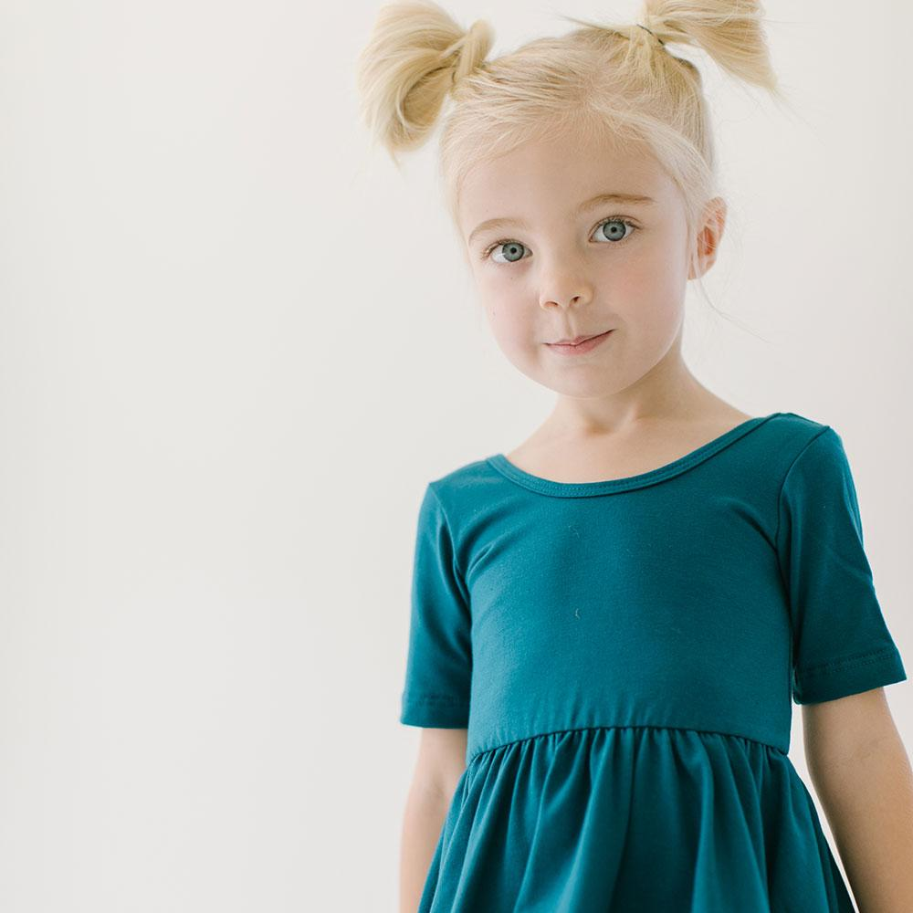 Alice + Ames- THE SHORT SLEEVE BALLET DRESS IN GLACIER