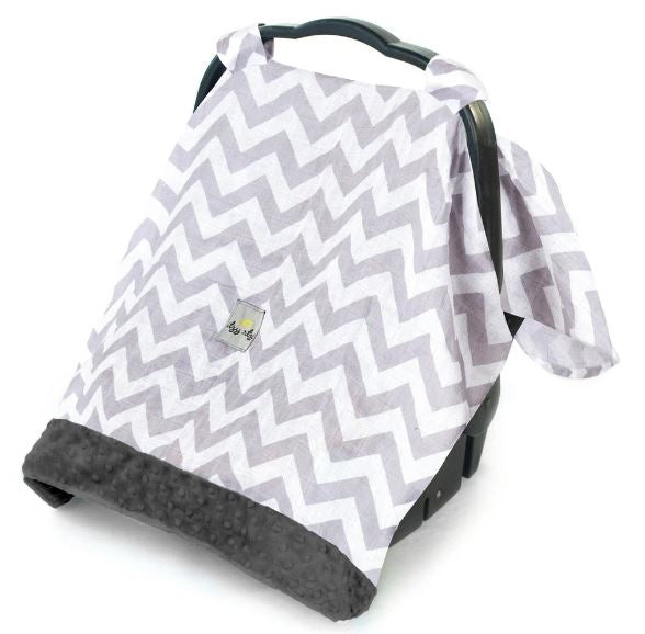 Itzy Ritzy - COZY HAPPENS INFANT CAR SEAT CANOPY & TUMMY TIME MAT | C. Grey Chevron