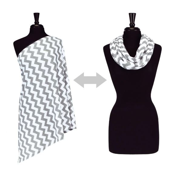 Itzy Ritzy - NURSING HAPPENS INFINITY BREASTFEEDING SCARF | C. Grey Chevron