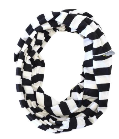 Itzy Ritzy - NURSING HAPPENS INFINITY BREASTFEEDING SCARF | Black & White Stripe