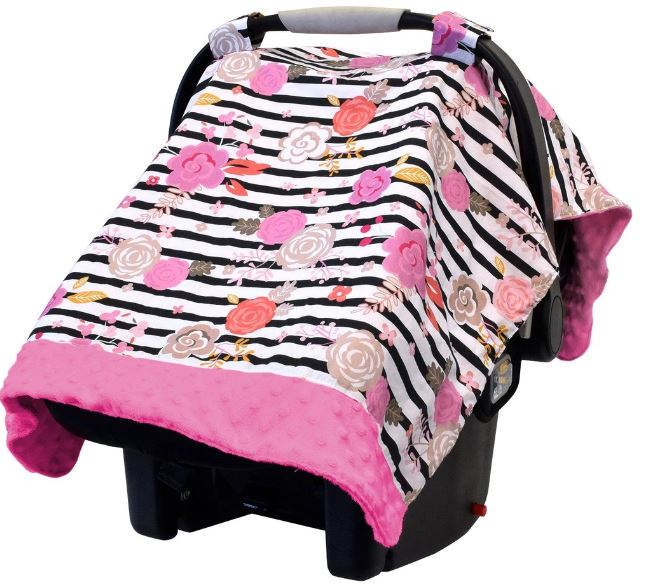 Itzy Ritzy - COZY HAPPENS INFANT CAR SEAT CANOPY & TUMMY TIME MAT | Floral Stripe