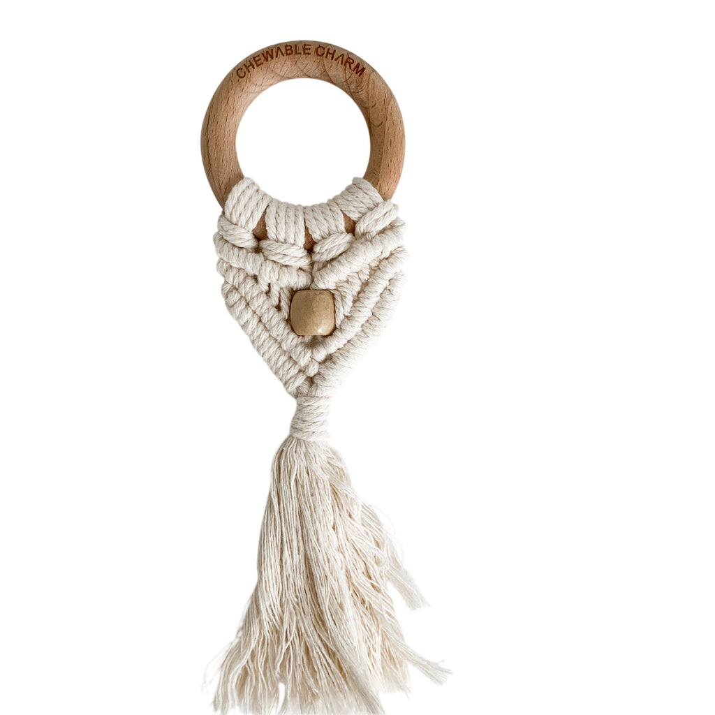 Chewable Charm - Celeste Macrame Teether + Bead - Cream