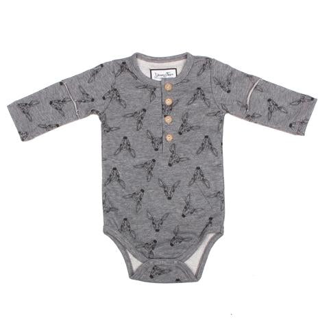 Young and Free Apparel - Henley Bodysuit - Grey