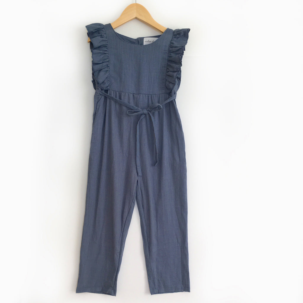 Carken Design - Navy Blue Linen Ruffle Romper with Pants