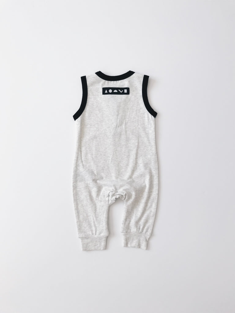 Orcas Lucille - Sleeveless Henley Romper - Heather Grey