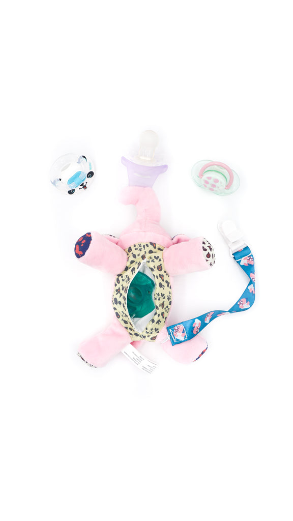 NISSI & JIREH - 5 in 1 Pacifier holder Teether, Pink Elephant