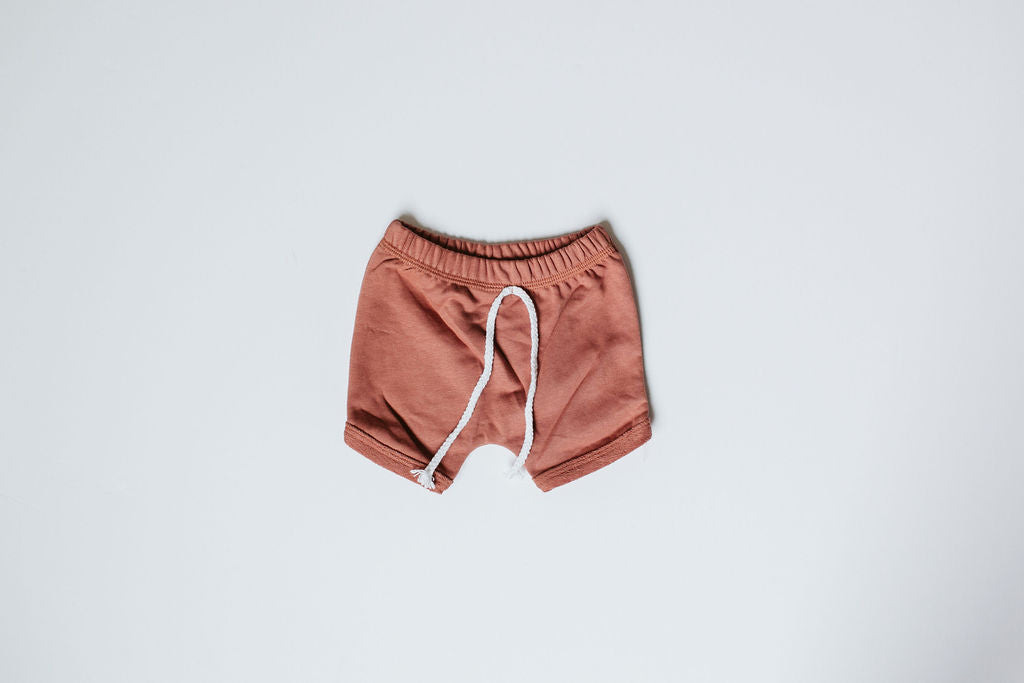 Orcas Lucille - Curved Hem Harem Shorts - Terracotta