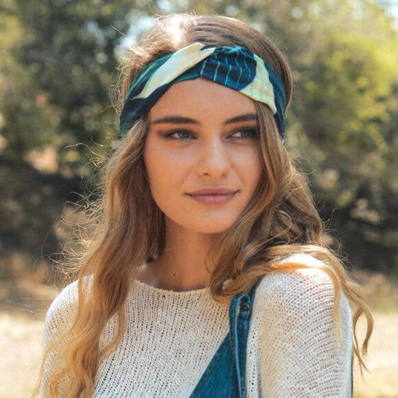 Leto Accessories - Leaf Print Twist Headband