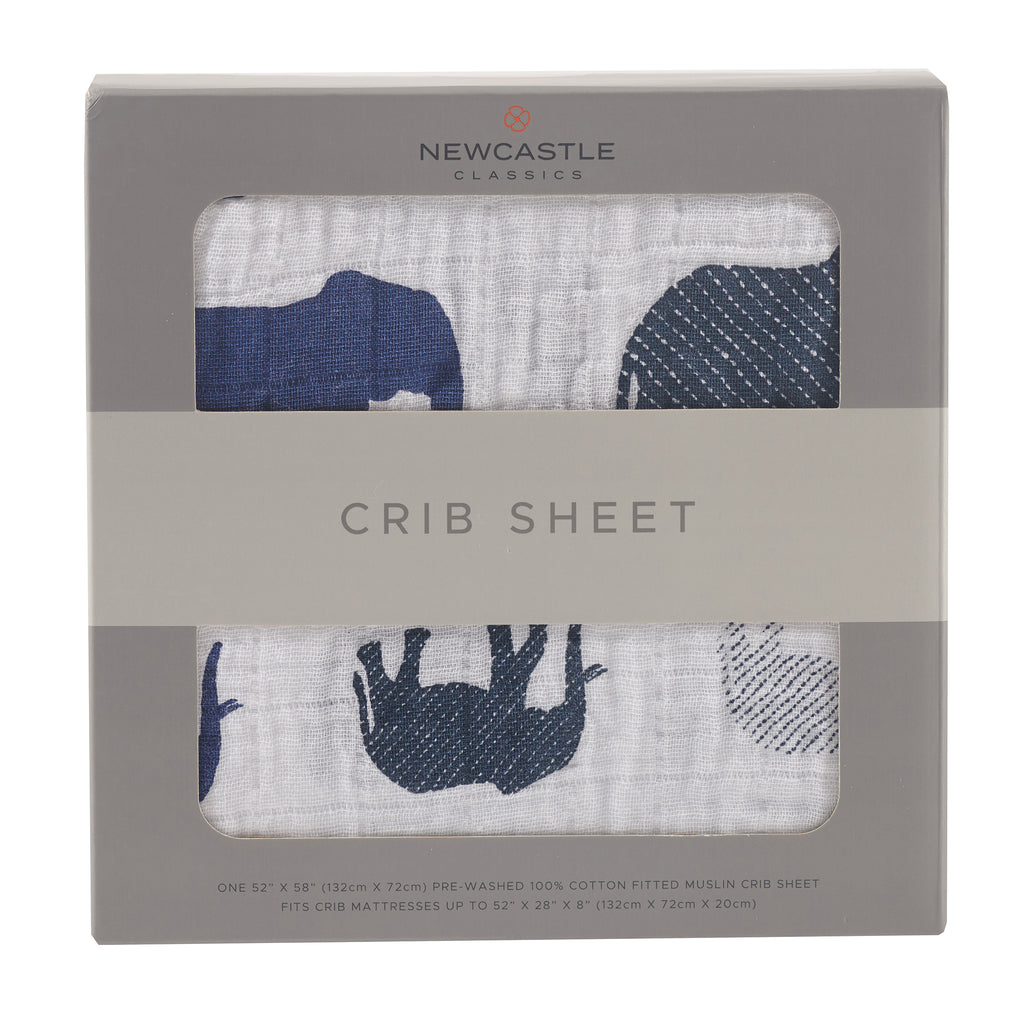 Newcastle Classics - Blue Elephant Crib Sheet