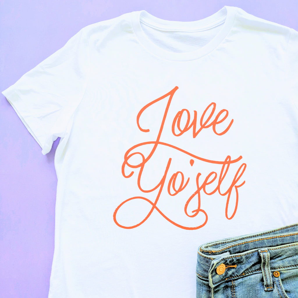 Love Frankie Studio - Love Yo'Self White Red Boyfriend Tee
