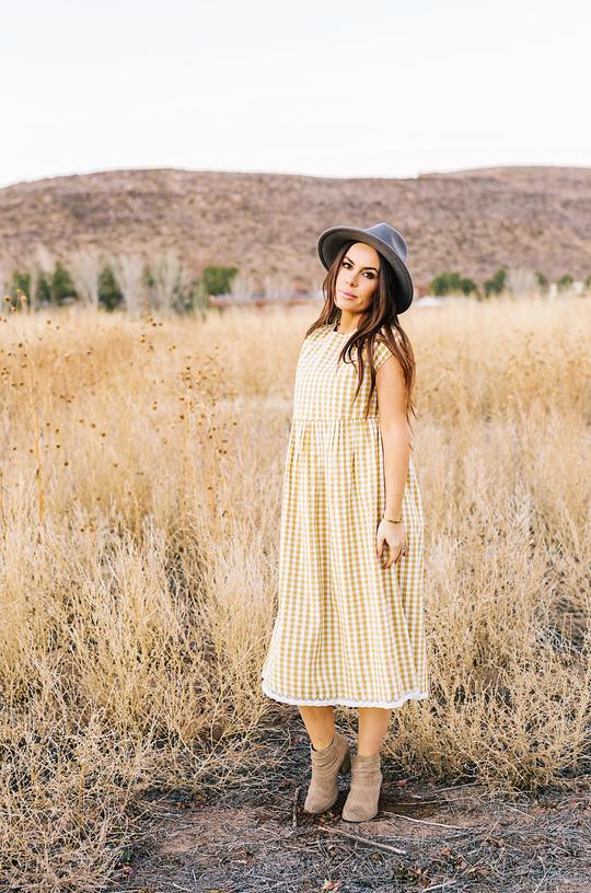 Lemon + Lucy - Clutterbuck  - Gingham Button Shoulder Dress